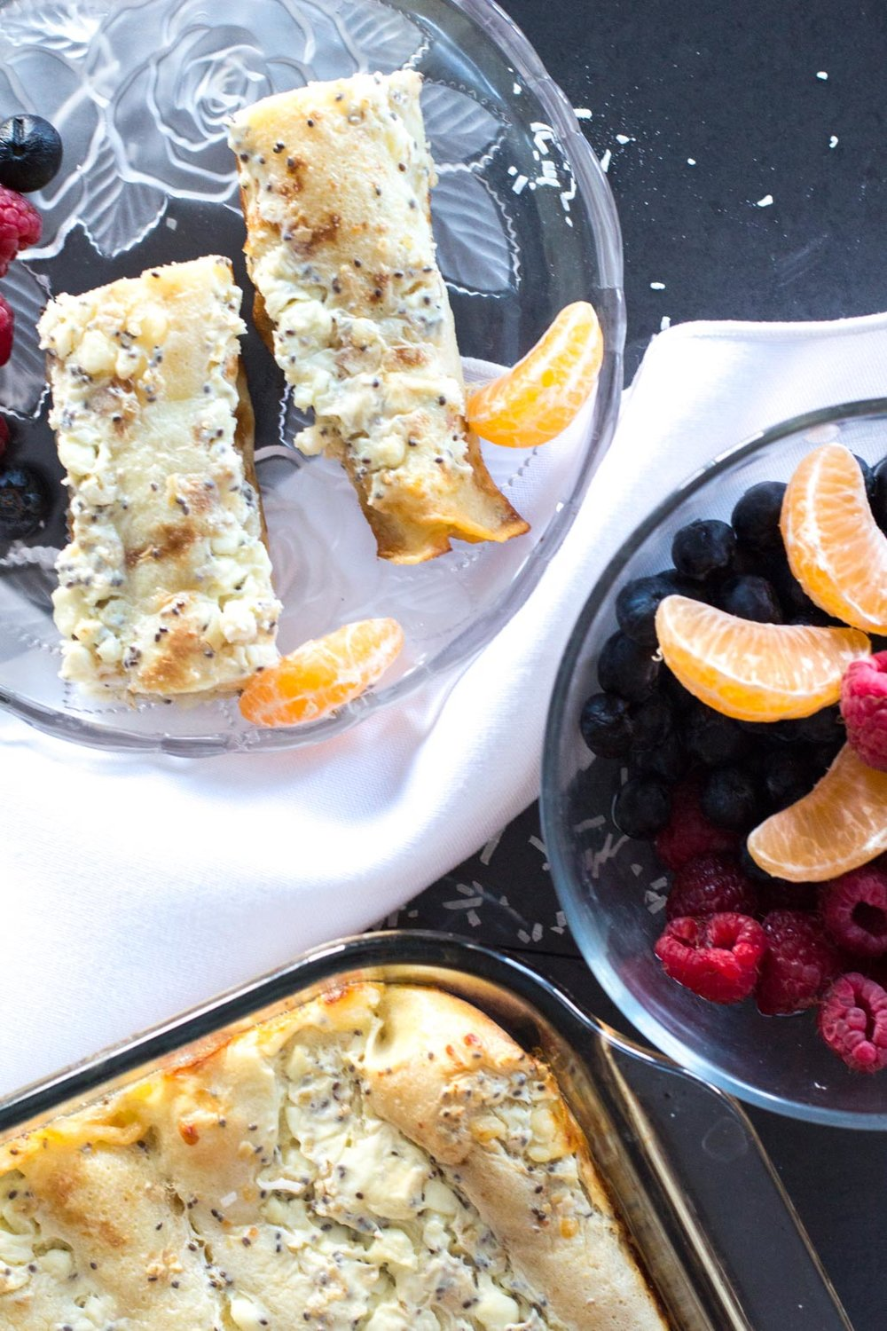 Warm cottage cheese crepes casserole