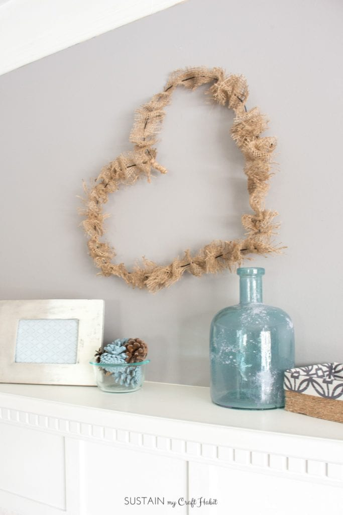 Make this simple and quick heart shaped rustic heart shaped wreath that's perfect for Valentine's Day and year round!