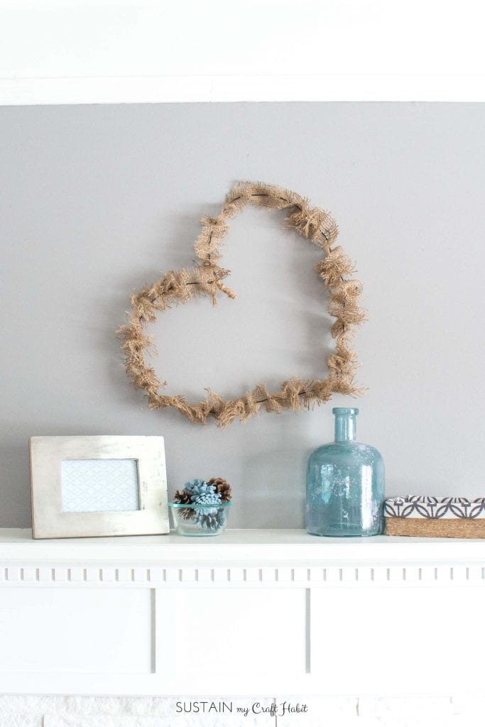 How To Make A Simple Wire And Burlap Heart Wreath DIY