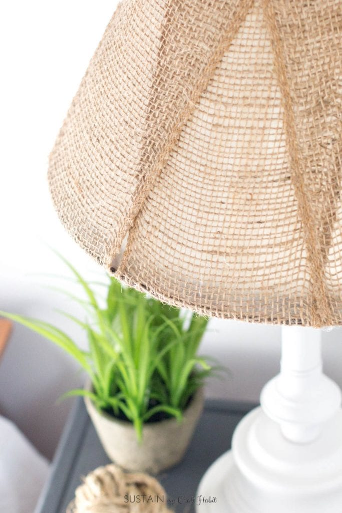 A Diy Brass Lamp Makeover With A Burlap Lampshade Sustain My Craft Habit