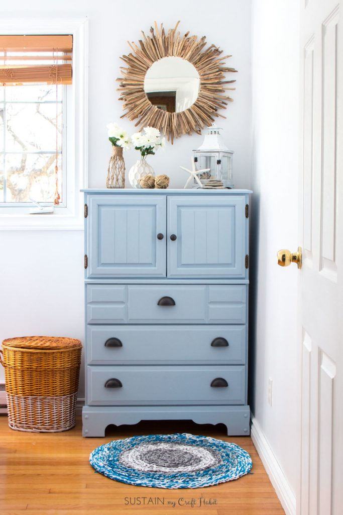 Upcycled blue dresser with chalk style paint