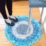 Learn how to crochet a large circular rug without any hooks using upcycled t-shirts!
