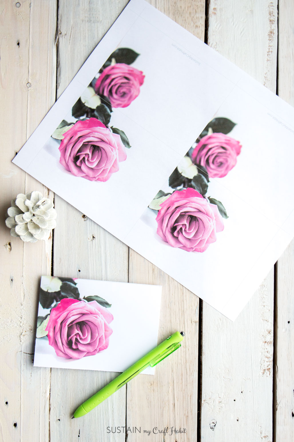 Pink roses free printable greeting cards on a wood background