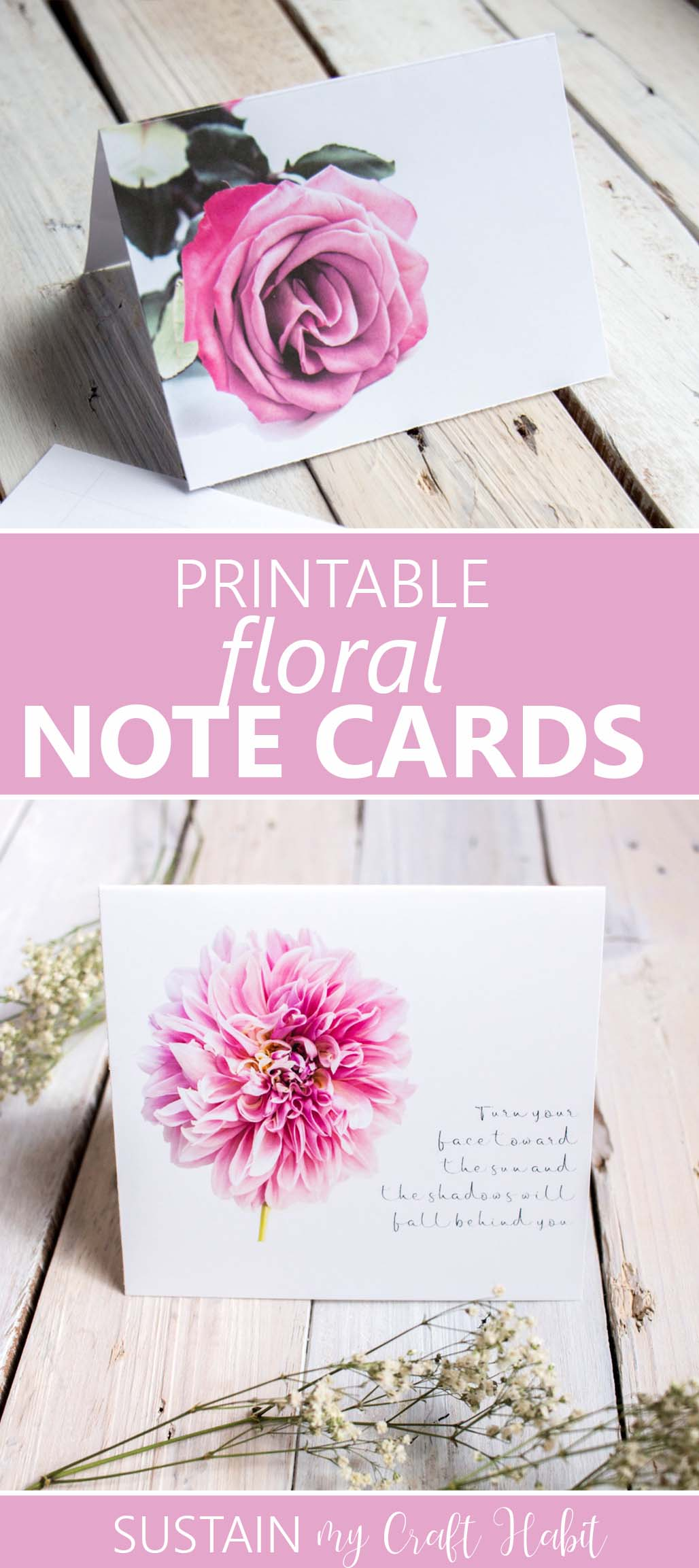 Pink roses and dahlias printable note cards