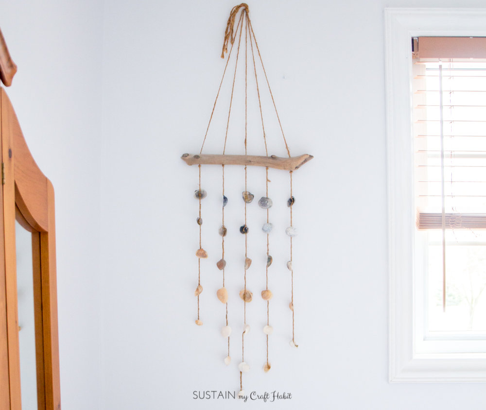 DIY beach bedroom decor seashell wind chime
