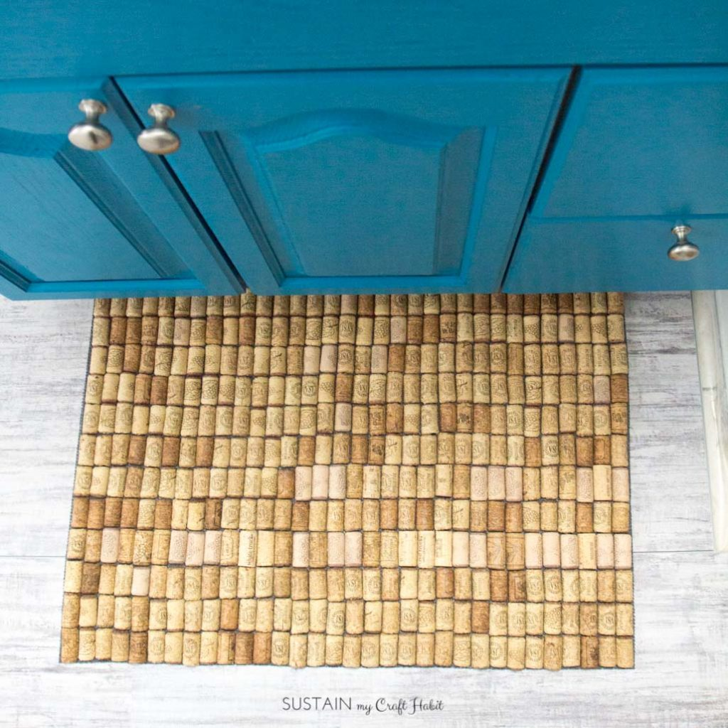 Learn how to make a warm and squishy wine cork bath mat using left-over wine corks.