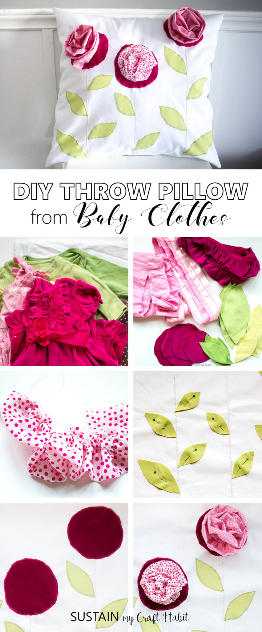 DIY throw pillow upcycled from outgrown baby clothing. This beautiful and bright home decor ideas would make a lovely keepsake or gift. Click through for the full tutorial and pattern.