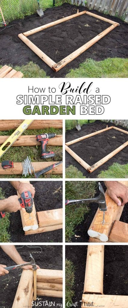 Collage of steps to build your own raised garden bed