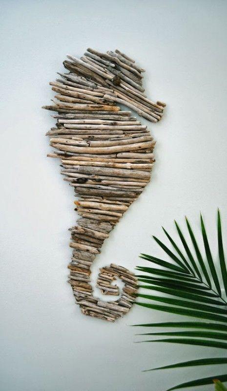 Seahorse driftwood art idea