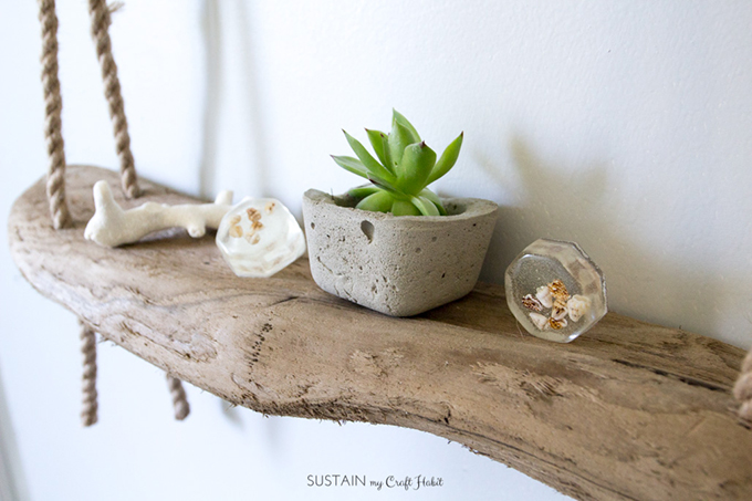 Diy Hanging Rope Shelf With Driftwood Sustain My Craft Habit