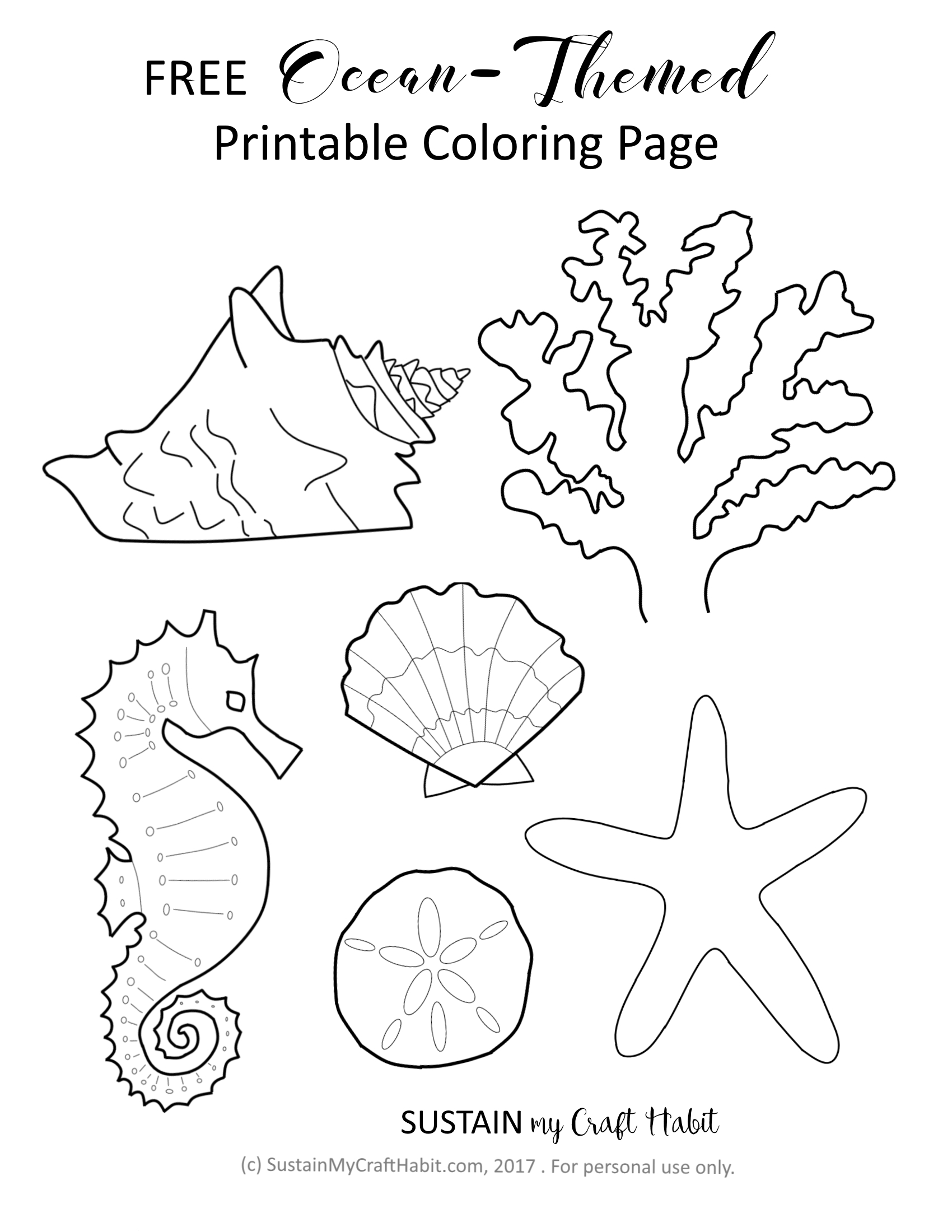 free ocean themed coloring page printable sustain my craft habit