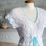 Lacy knitted beach cover up pattern review with Lion Brand 24/7 cotton yarn.
