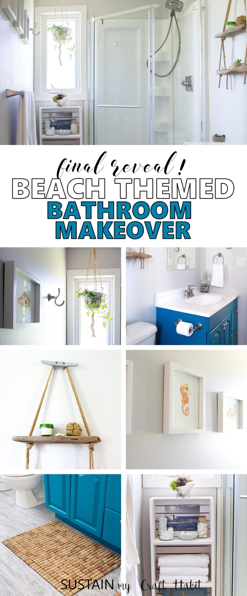beach themed bathroom final reveal | one room challenge | spring