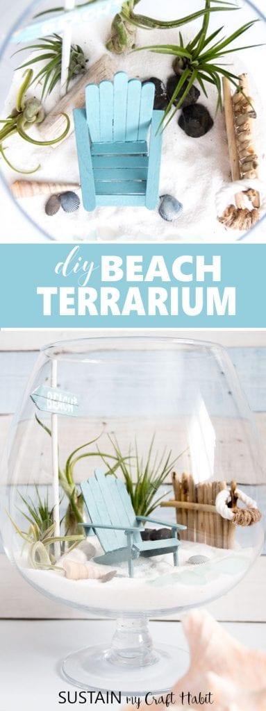 So cute! Make this beachy fairy garden to enjoy summer all year round. DIY tutorial with video included. Mini garden air plant terrarium.