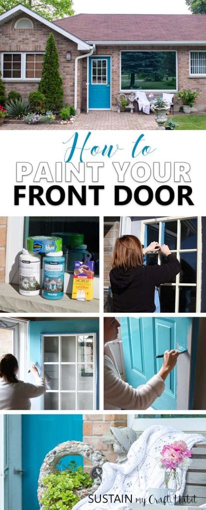 Learn how to paint a front door in 3 easy steps! A simple DIY project to add curb appeal to your home. Full, step-by-step tutorial is included.