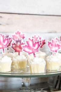 Free printable cupcake toppers including watercolor leaves, sparkling stars and cacti!