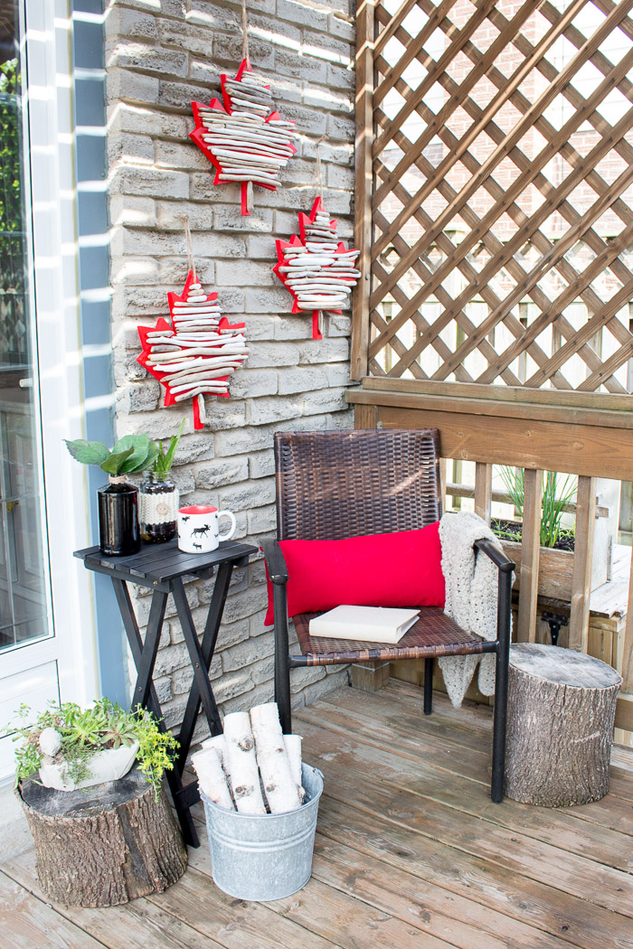 Create your own Canada Day decor by making this DIY maple leaf decor with driftwood.