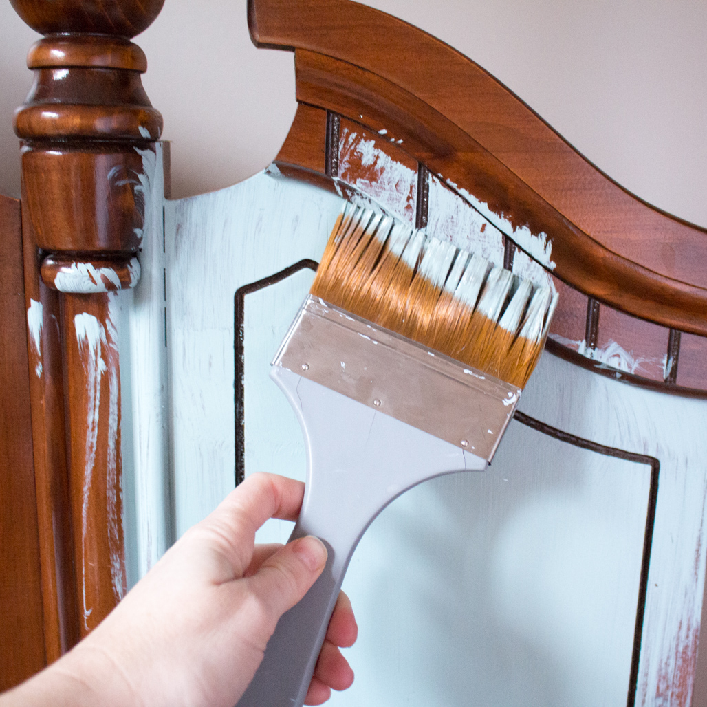How To Paint Wood Furniture The Easy Way Beachy Painted Headboard Sustain My Craft Habit