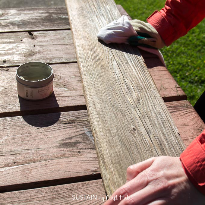 Apply a natural furniture wax to your DIY driftwood shelf