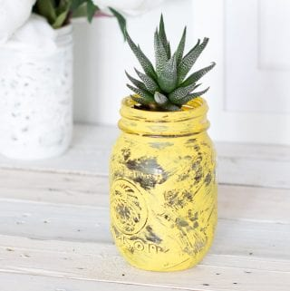 DIY Succulent Planter: Painted Mason Jar Pineapple (with video!)