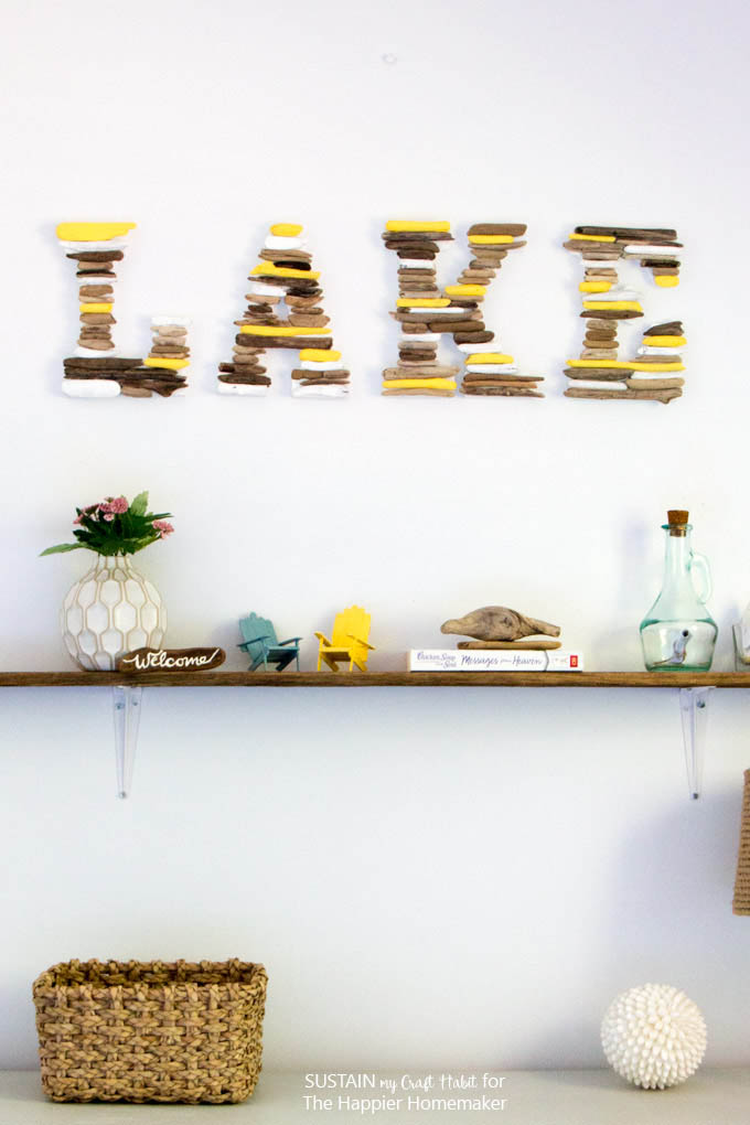 What a fun lake house or cottage decor idea! A DIY wall shelf with found driftwood.