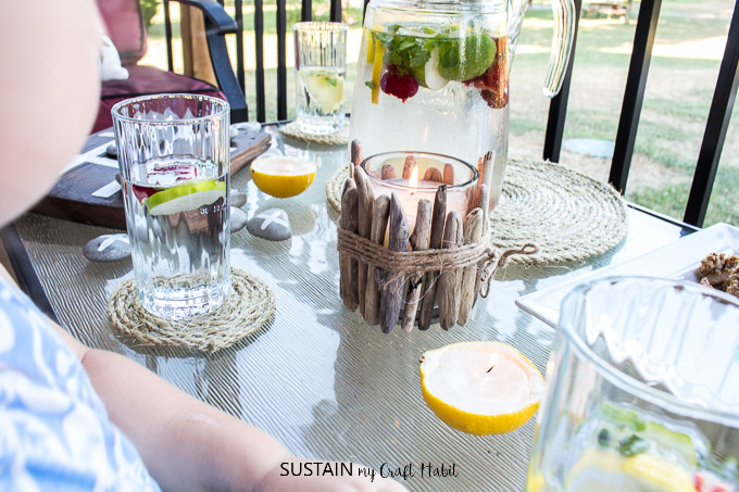 Wrapped rope coasters plus 11 other simple patio decor ideas.