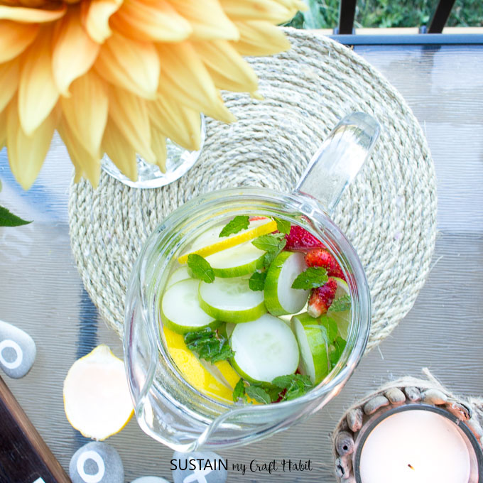 Refreshing cucumber, strawberry and mint water plus 11 cozy patio decorating ideas to try.