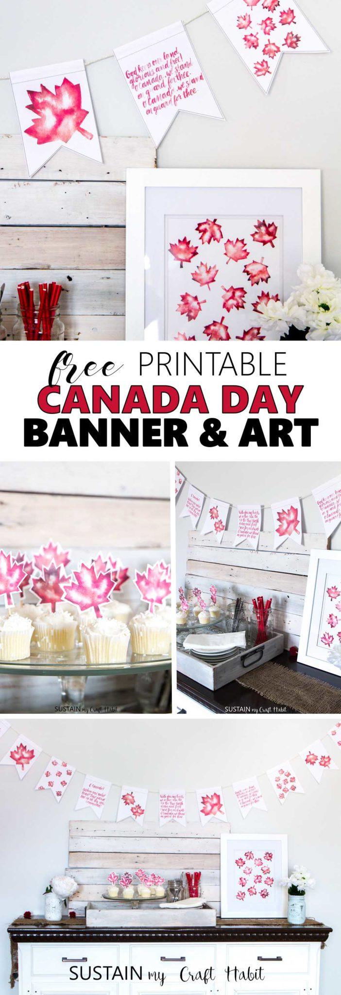 Celebrate Canada's 150th birthday with a free printable Canada Banner and watercolour maple leaf art! Plus, DIY Canada Day celebration ideas from dozens of Canadian bloggers.