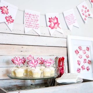 With it's 150th birthday just around the corner, we have some beautiful red and white decorating ideas to help you celebrate: free printable brush-lettered banner and watercolour maple leaf art!