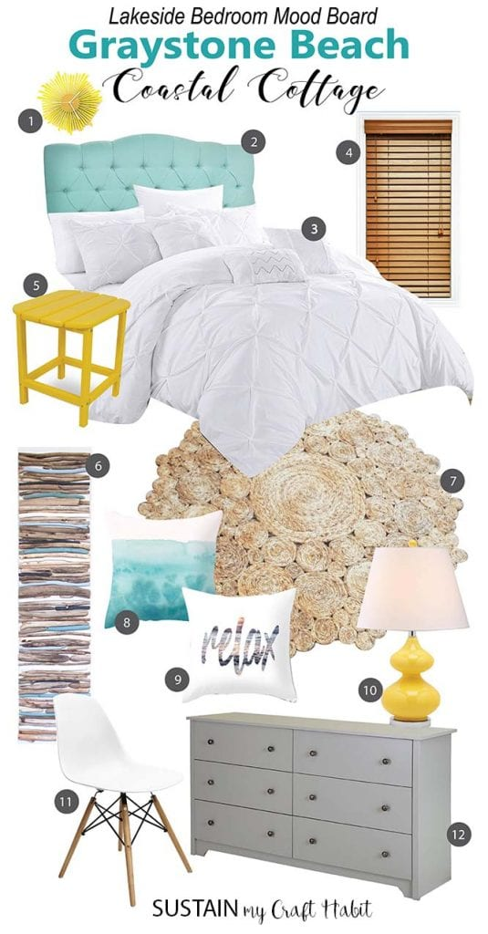 Love This Bright And Cheery Mood Board For A Beach Bedroom! What A Crisp And
