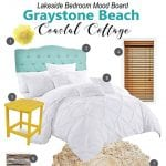 Mood board for a beach themed bedroom. Bright and cheery coastal retreat!