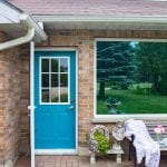 How to Paint a Front Door for added Curb Appeal! Gorgeous teal blue colored cottage front door. Simple refresh using DecoArt Americana Decor Curb Appeal in Harbor Blue.