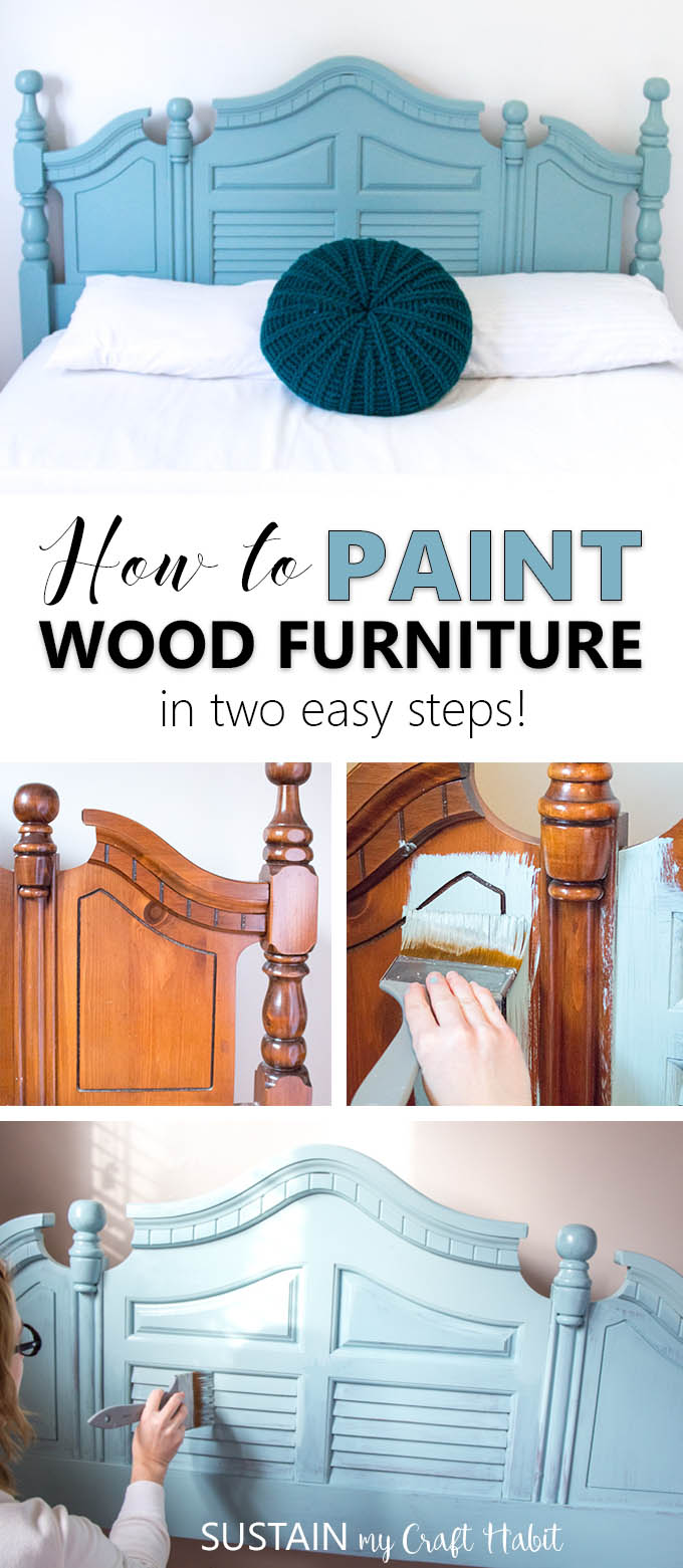 Collage of images demonstrating how to paint a wooden headboard.