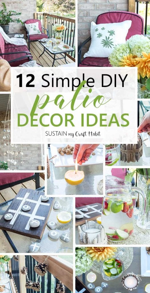 12 Simple DIY patio decorating ideas you can make this summer. Simple craft ideas for your backyard patio.