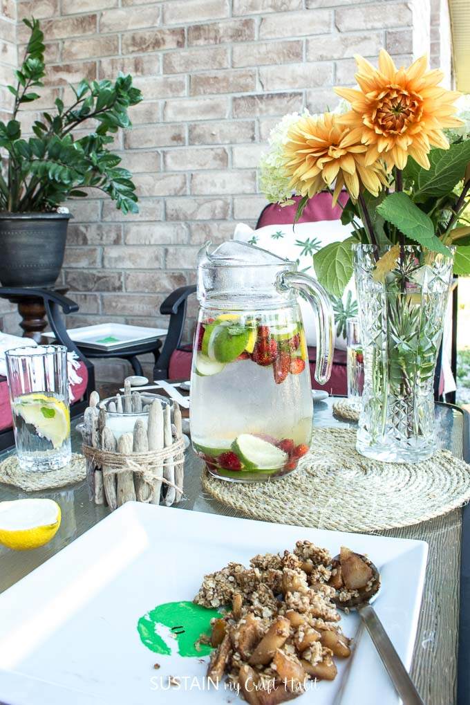 Strawberry rhubarb crunch plus 11 other DIY ideas for a cozy patio oasis.