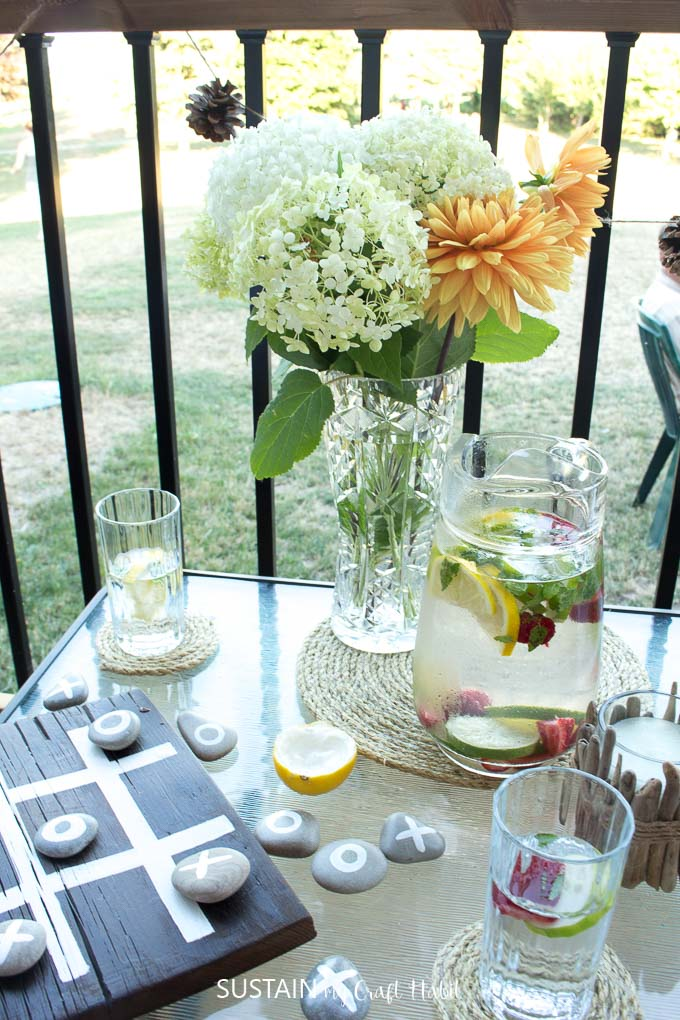 Seasonal fresh flower centerpiece plus 11 other ideas for decorating your summer patio.