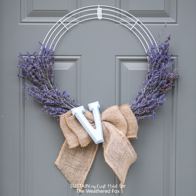 DY farmhouse inspired wreath made with lavender and burlap.