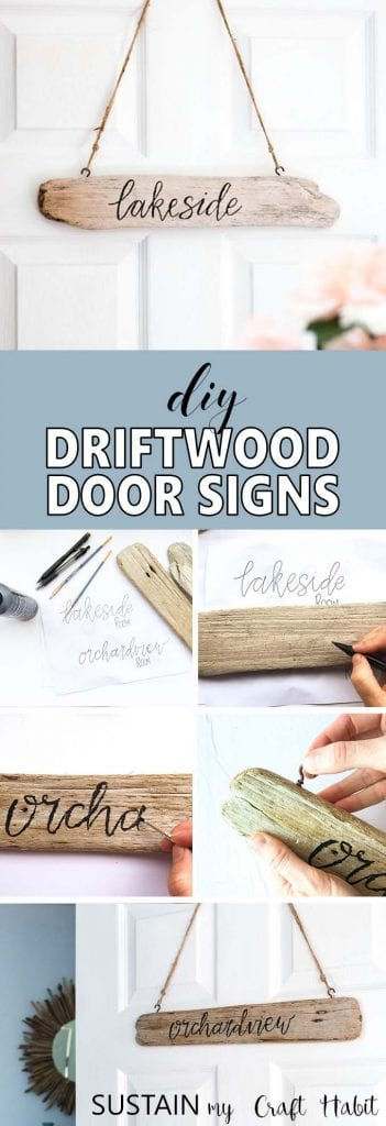 Hand-lettered DIY driftwood signs. Perfect for the cottage or as coastal decor for your home. Easy tutorial included!
