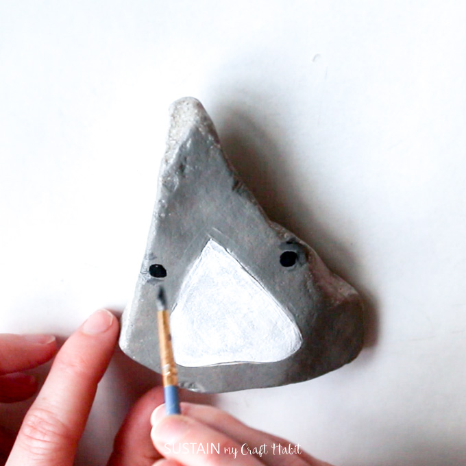painting rocks like a shark