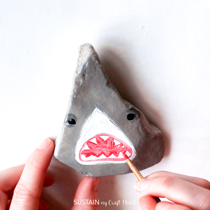 painted rocks shark head and ocean aniimals