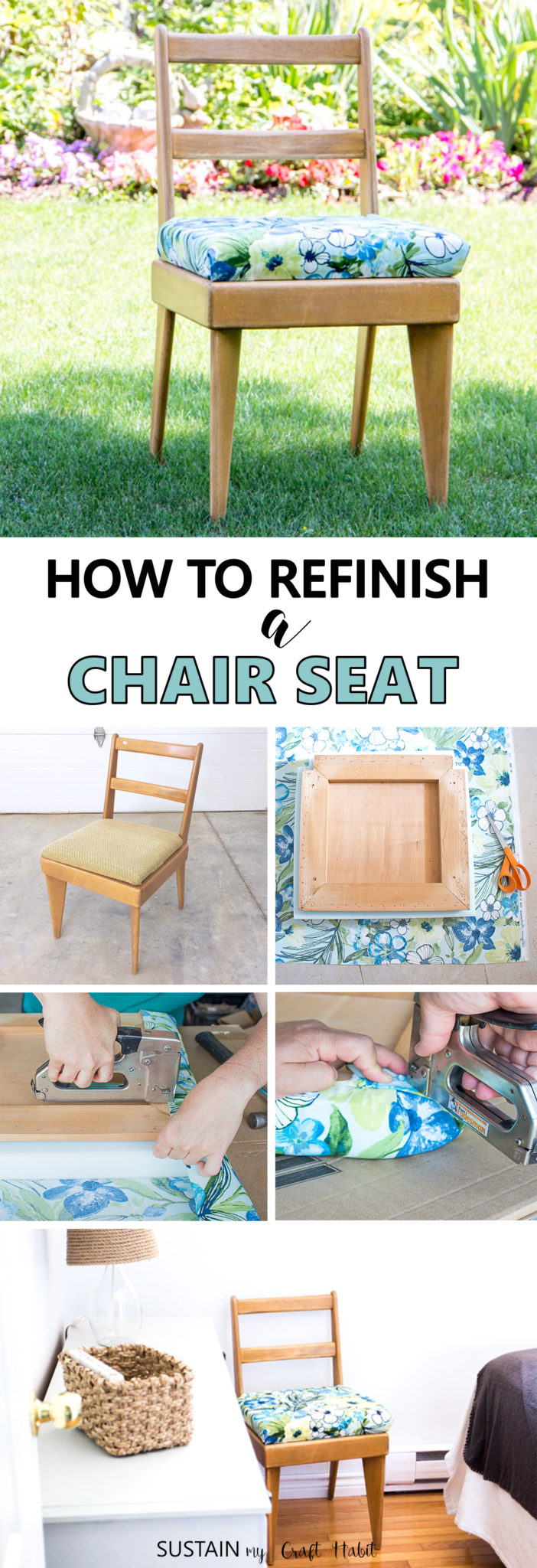 How to refinish a chair seat | Tips and tricks how to reupholster a chair | DIY chair reupholstering | Upcycled furniture | Vintage chair makeover