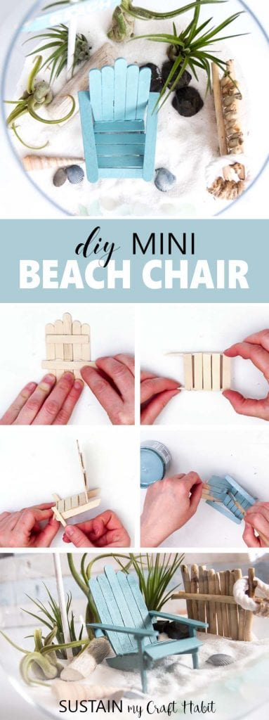 These mini Adirondack chairs are the perfect place for any beach-loving fairy to spend her summer days! Video tutorial and printable included. Miniature Adirondack Chair, Muskoka chair, coastal fairy garden furniture, mini beach chairs
