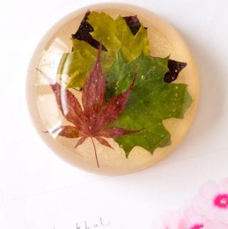 DIY Leafy Resin Paperweight Office Decor