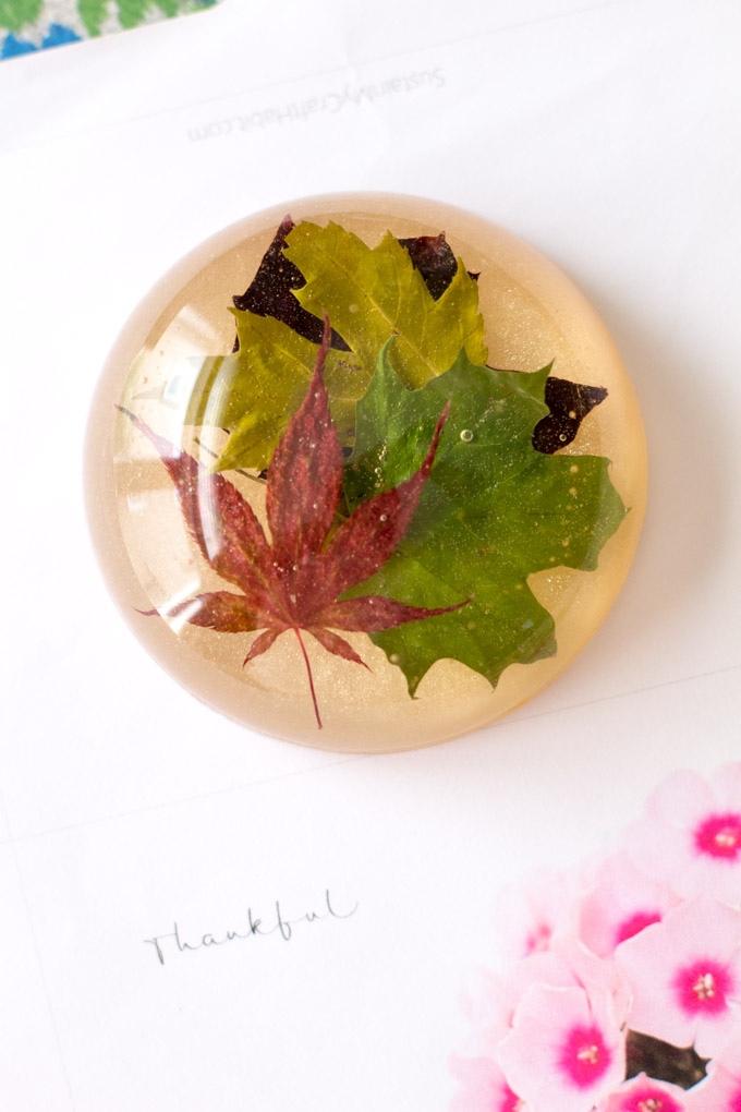 DIY resin paperweight made from different maple leaves. Unique office decor or gift idea for bosses and co-workers.