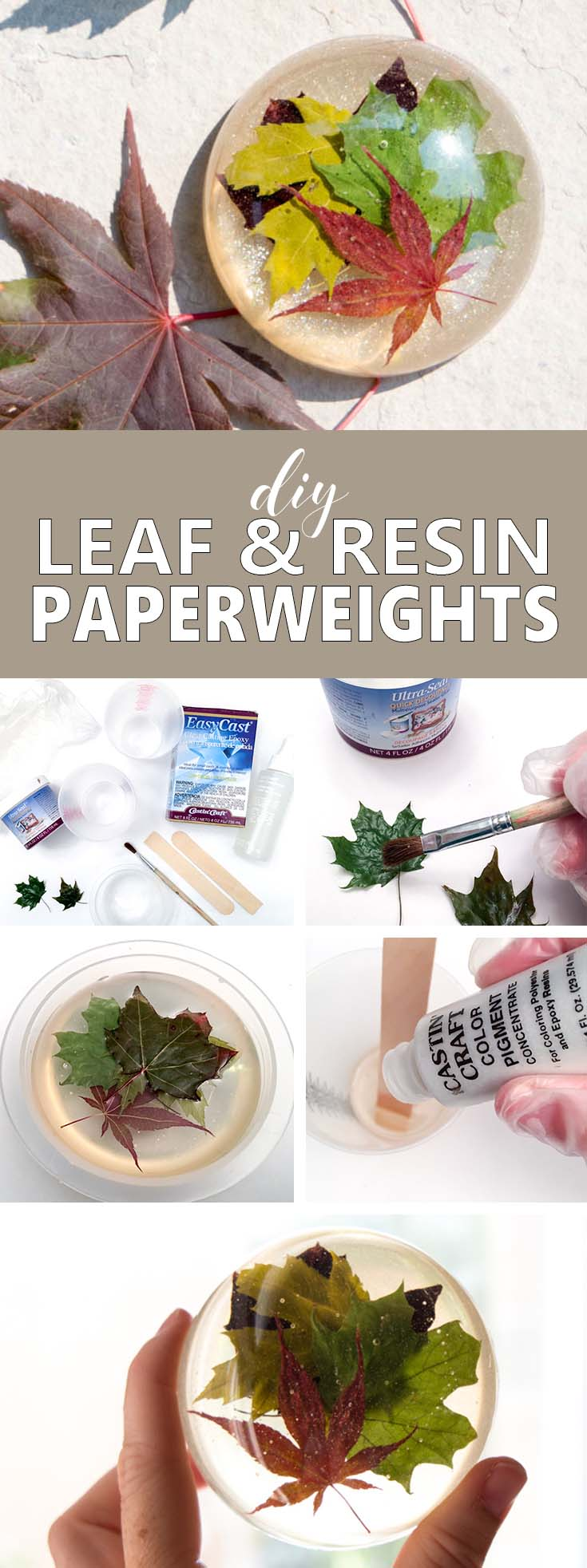 Learn how to make a resin paperweight with real leaves. A beautiful, nature-inspired fall craft idea or thoughtful handmade gift for a boss or coworker.