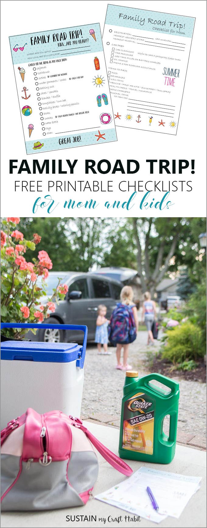 Family road trip tips including printable planning checklists for moms and kids!