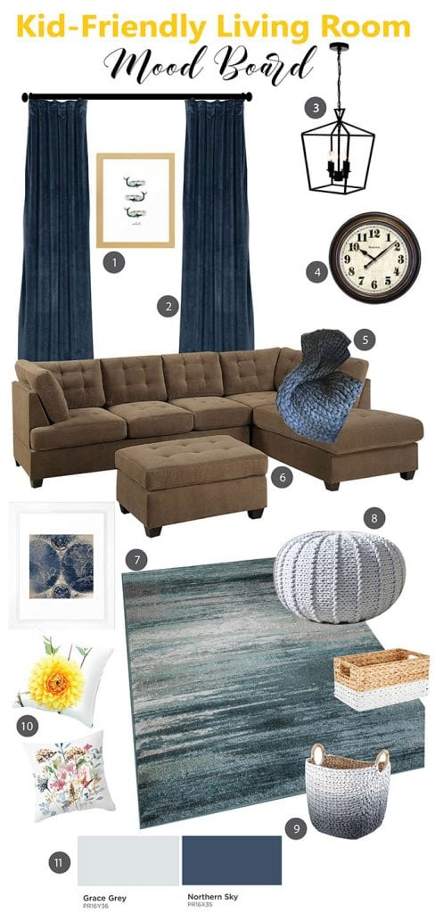 Living room colour ideas and design plans for a kid-friendly modern coastal room. color schemes for living rooms with brown furniture.
