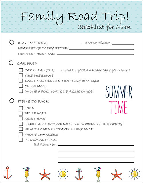 Family Road Trip Planning Checklist for mom - Sustain My ...
