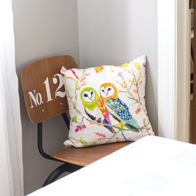 Woodland owls throw pillows from UncommonGoods.