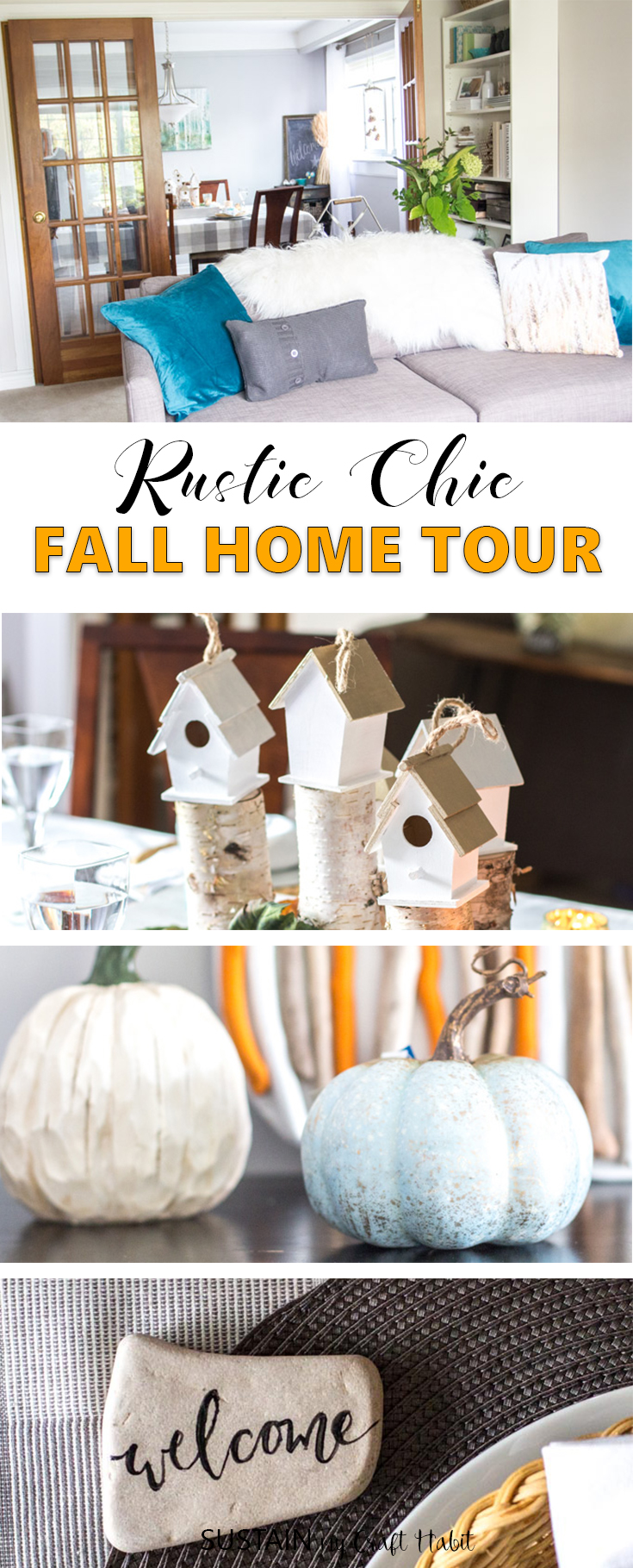 Gorgeous rustic chic fall home tour \ Fall decorating ideas with natural materials \ Teal and neutral fall decor \ Canadian bloggers fall home tour \ DIY autumn decorating ideas